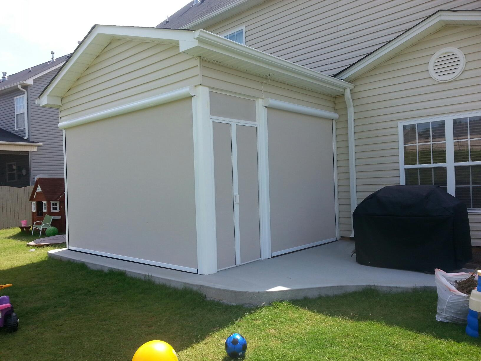 Customers Chose 85% Block Pebble Colored Solar Screens By ClearView To  Enclose Their New Patio Porch. Create This Same Look In Your SC Backyard.