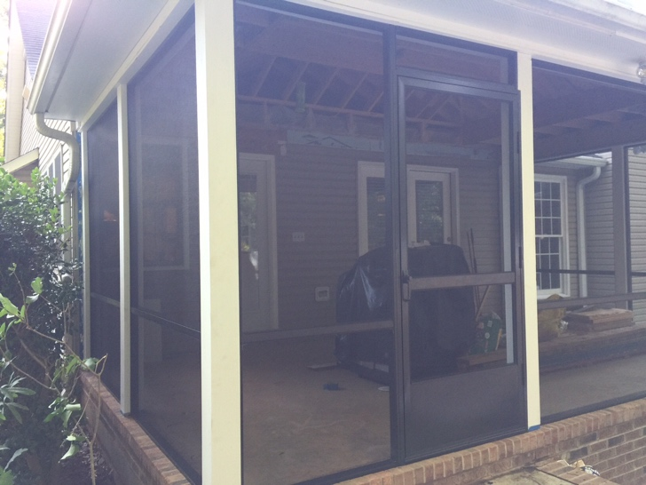 New Screen Porch With Brown Screen Frame System And